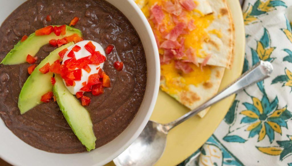 Black Bean Soup with Quesadillas