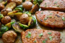 Pork Chops with Brussel Sprouts and Baby Potatoes