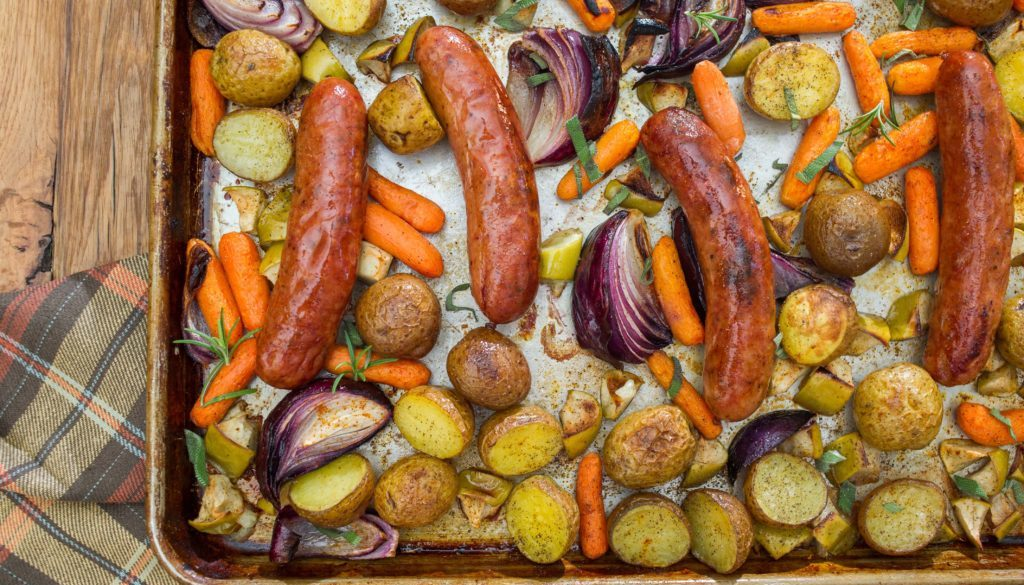 Sausage with Carrots, Apples, and Onions