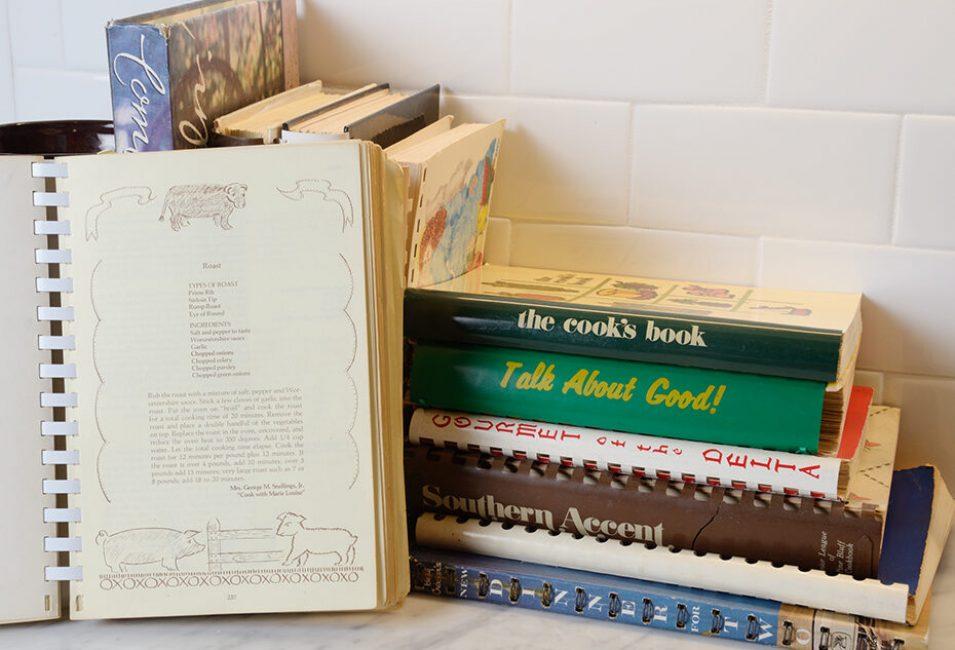 Cookbooks horizontal on countertop